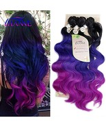 """HANNE Ombre Color Hair Synthetic Body Wave Hair 18""""20""""22"""" with Closure H... - $28.09"""