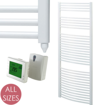 AURA 25 ELECTRIC Heated Towel Rail With TIMER - Curved White - Bathroom ... - $179.87+
