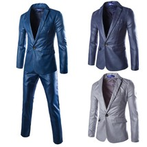 (Jackets+Pants) New Men Suits Slim Custom Fit Tuxedo Brand Fashion - $185.00
