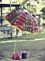 Indian Embroidered Garden Parasol Cotton Outdoor Sunshade Patio Umbrella... - $194.78 CAD