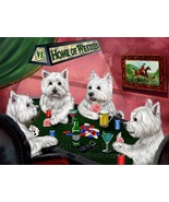 Home of Westies 4 Dogs Playing Poker Art Portrait Print Woven Throw Sher... - $88.11