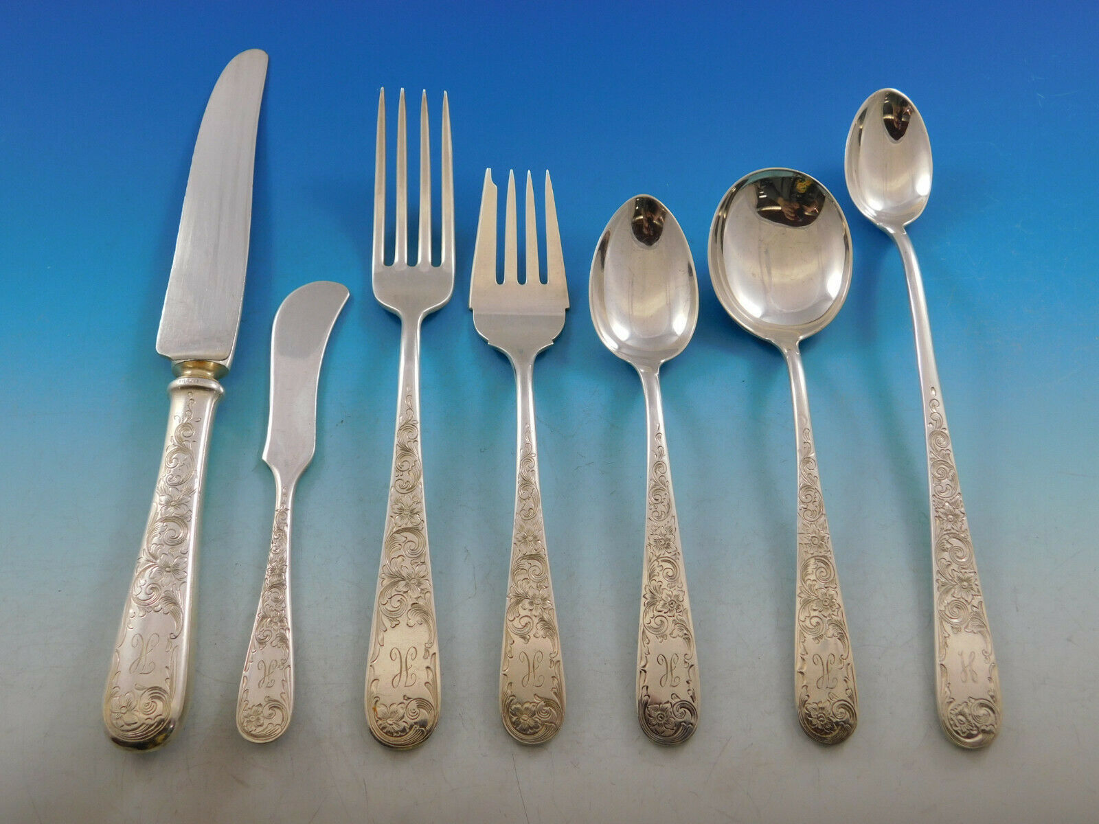 Primary image for Old Maryland Engraved by Kirk Sterling Silver Flatware Set Service 62 pcs H Mono