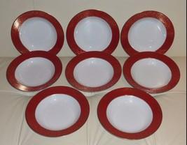 8 Mikasa Parchment L3471 Red Soup Plates - $79.00