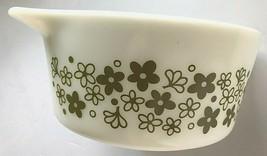Pyrex Ovenware 474-b 1 1/2 Quart White Green Spring Blossom Bowl Casserole Dish - $34.64