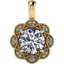 1.15Ct Created Diamond Round Halo Charm Pendant 14K Yellow Rose White Gold - $117.43