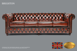 Original Chesterfield Brand Wash off Brown Sofa,4 seats ,Real leather ,H... - $5,149.00