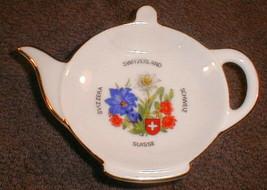 Porcelain swiss teabag Holder  teapot Gold Trim Swiss Flowers - $15.00