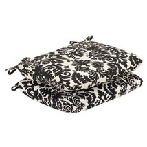 Pillow Perfect Indoor/Outdoor Black/Beige Damask Seat Cushion, Rounded, ... - £26.99 GBP