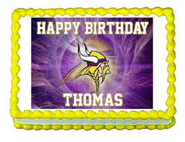 Minnesota Vikings party decoration edible cake image cake topper frosting - $7.80