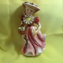 Vintage Easter Lady Woman Figurine In Pink w Bonnet & Basket Dresden Tri... - $15.00