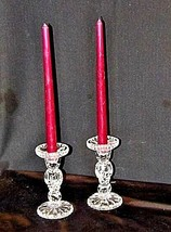 Glass Candle Stick Holders with Red Candles AA18-1372 Vintage image 2