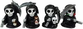 "4pc Mini Grim Reaper Figurines Gothic Home Decor Skeleton Collectibles 3.5"" - £25.16 GBP"