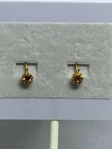 Vintage Gold Tone & Yellow Rhinestone Clip On Earrings ( 2137 ) - $6.00