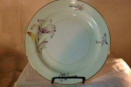 Homer Laughlin Creamy Yellow Band Purple Yellow Floral Rimmed Dinner Pla... - $5.03