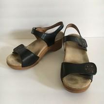Dansko Sonnet Black Studded Leather Rose Ankle Strap Sandals Size 39 US ... - $29.92