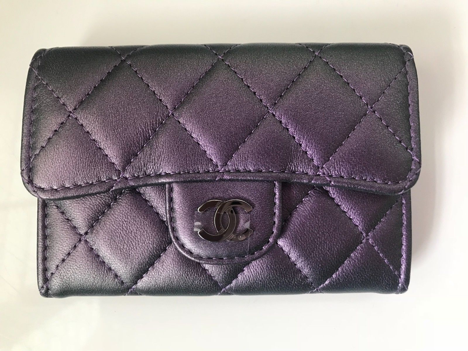 a86971eab749 CHANEL Iridescent Purple Mermaid O-Card Holder O-Case Wallet NEW WITH BOX