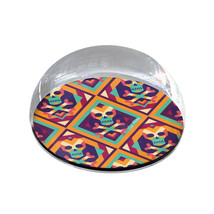 "Colorful Geo Skulls Art Gift 2"" Crystal Dome Magnet or Paperweight - £12.13 GBP"