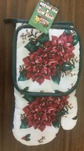 2 pc PRINTED KITCHEN SET: 1 Pot Holder & 1 Oven Mitt, FLOWERS by PRIDE - $7.91