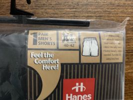 Hanes Mens Boxer Shorts Loungewear 40-42 Black Vintage 1998 NWT New image 4
