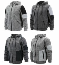 Men's Two Tone Warm Soft Sherpa Lined Moto Quilted Zipper Fleece Hoodie Jacket