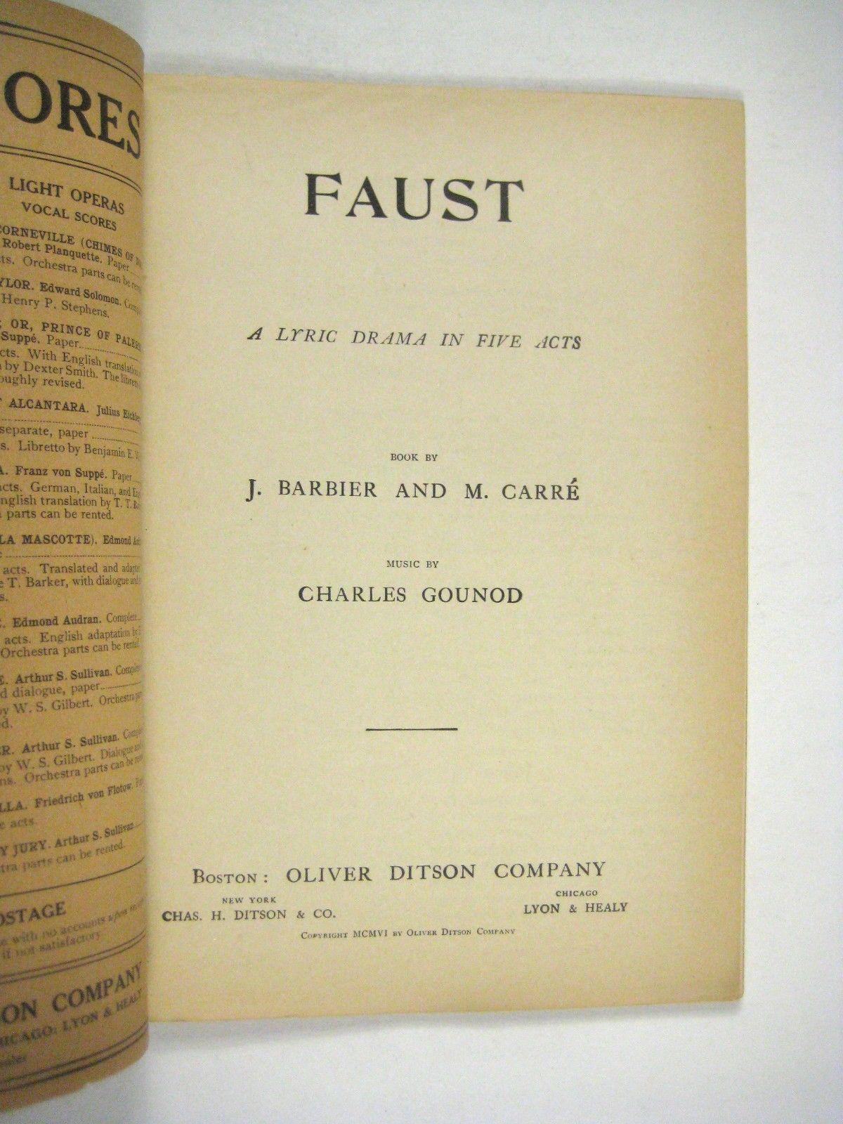 Faust Librettos Grand Opera Program Gounod Oliver Ditson Boston 1906