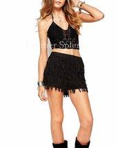 Fringe Layered Women Mini Suede Leather Skirt