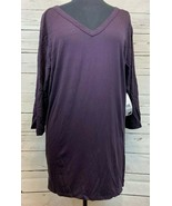 Karen Kane Purple 3/4 Sleeves Top Blouse Shirt Sheer Black Back Size 2X ... - $24.85