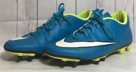 Women's 9.5 Mercurial Vortex 2 Firm Ground Soccer Cleats Blue Yellow 658575-400 - $10.70
