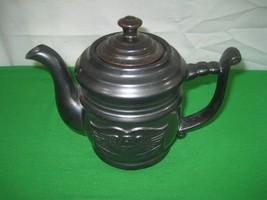 Dark Silver Metallic Porcelain Tea Pot & Lid with Embossed Eagle on Side - $12.82