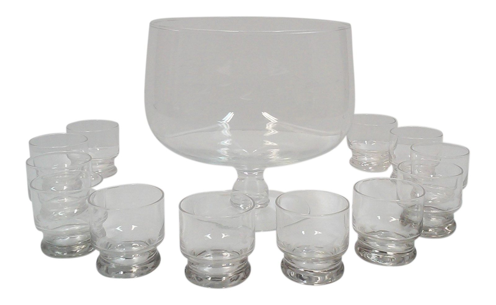 Vintage etched crystal footed punch bowl and cups set of 13