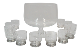 Vintage etched crystal footed punch bowl and cups set of 13 thumb200