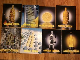 ABSOLUT CITRON COLLECTION - 8 Ads: Lava Lamp, Taxis, Butterflies, Grater... - $4.99