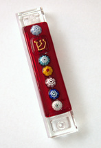 Murano Glass Handmade Mezuzah Case w 6.5 cm Scroll Red Murrina Judaica w Scroll image 3