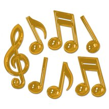 """Club Pack of 84 Shiny Gold Plastic Musical Notes Party Decoration 13"""" - €111,12 EUR"""