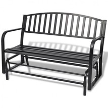 Outdoor Glider Swing Bench Metal Porch Rocker Furniture Steel Black Gard... - $159.99