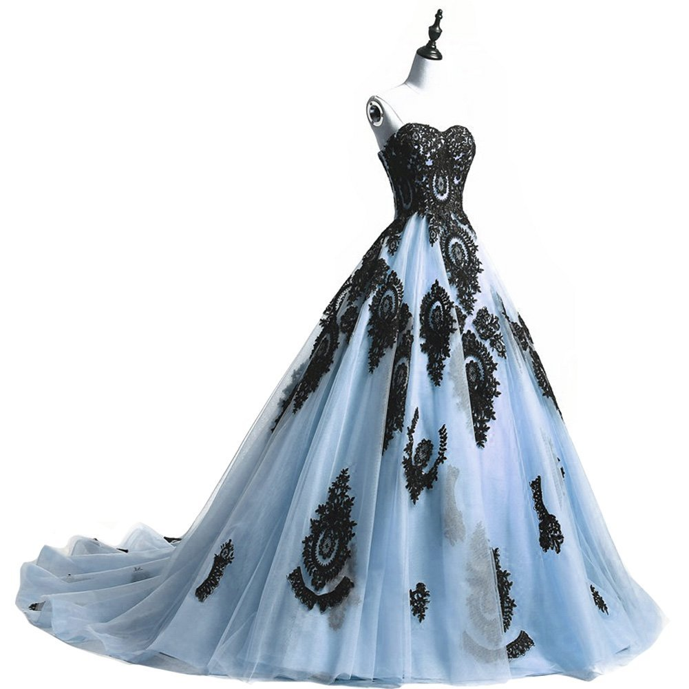 Long Ball Gown Black Lace Gothic Corset Formal Prom Evening Dresses Lavener image 6