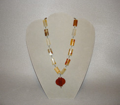 Vintage LUCITE Translucent Tortoise Beaded Necklace Amber Pendant - $74.95