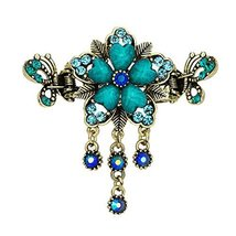 Retro Luxury Aulic Style Crystal Bronze Alloy Hair Claws, Flowers(Cyan)