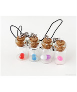 Tiny Pill Bottle Phone Charm, Phone Strap, Glass Vial, Gifts for Friends... - $6.00