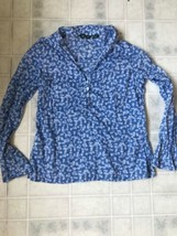 Eddie Bauer Blue Floral blouse size Small Button front Ruffled Placket Long Slv - $21.35