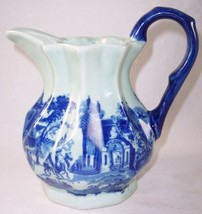 Victoria Ware Small Ironstone Flow Blue Pitcher Old Town Street Scene - $24.99