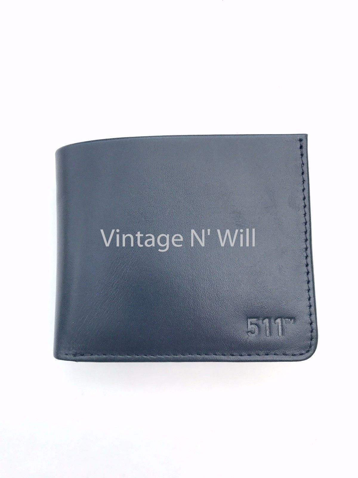 Levis Jeans Mens 511 Slim Navy Blue Genuine Leather Wallet Billfold Bifold Card image 2