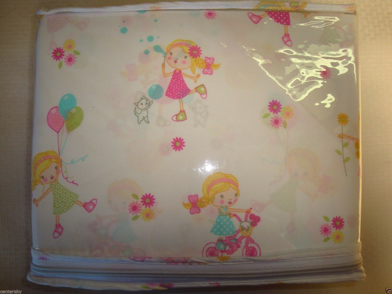 New Lyla Rose 4 Piece FULL Sheet Set Little Girls Bicycles Bubbles Flowers Cats image 2