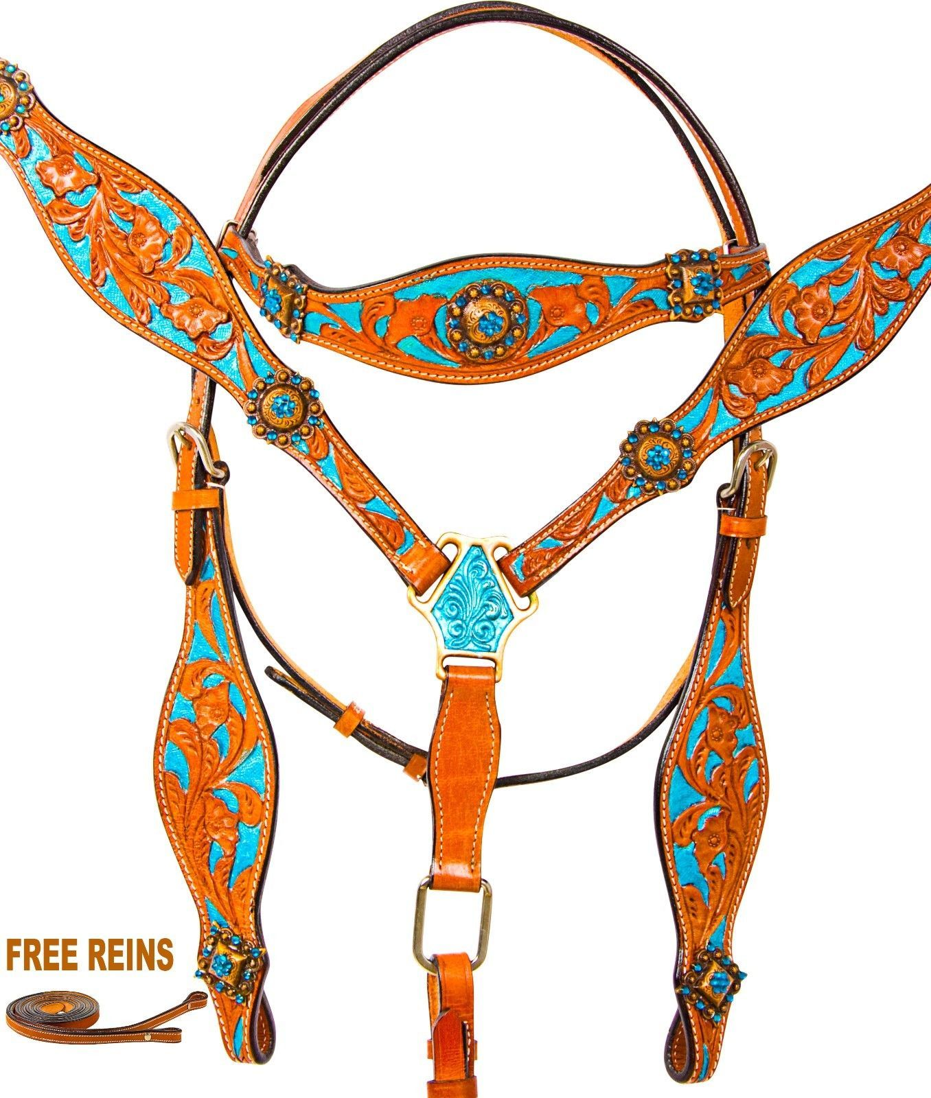 CUSTOM TURQUOISE BLING CRYSTAL WESTERN LEATHER HEADSTALL BRIDLE TACK SET LOT