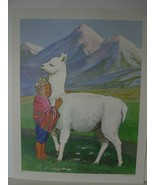 Andean Child with Llama and Mountains - Art Print - David C. Cook Co 1967 - $10.24