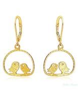 14k Gold Plated Earrings Lovebirds Sitting Drop Dangle High Quality Warr... - $28.04