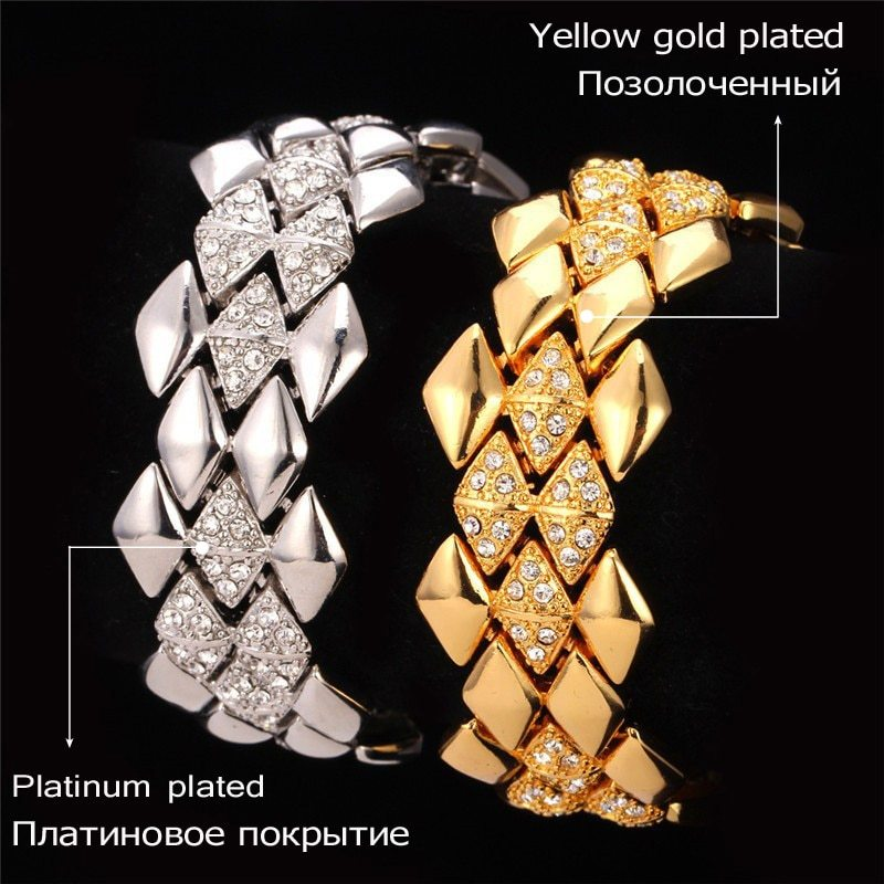 U7 Big Bracelet Geometric Trendy Jewelry Wholesale Dubai Gold Color Rhinestone 2