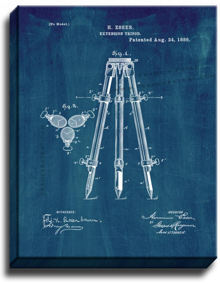 Primary image for Camera Tripod Patent Print Midnight Blue on Canvas