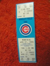 MLB 1995 Chicago Cubs Ticket Stub Vs. Montreal Expos 4/27/95 - $3.49