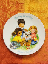 "Children Bathing Puppy Dog Loving Is Caring Avon 1989 Collector Plate 5"" Round - $9.43"